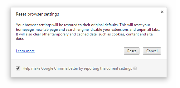 Google Chrome added pop-up warning to prevent users from Browser hijacking