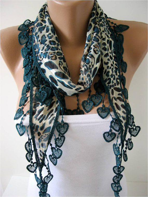 Cotton Scarf with Trim Edge hearts for ladies