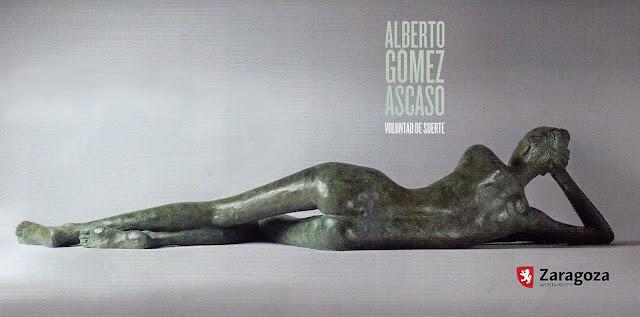 Cartel exposición figura femenina tumbada desnuda de espaldas