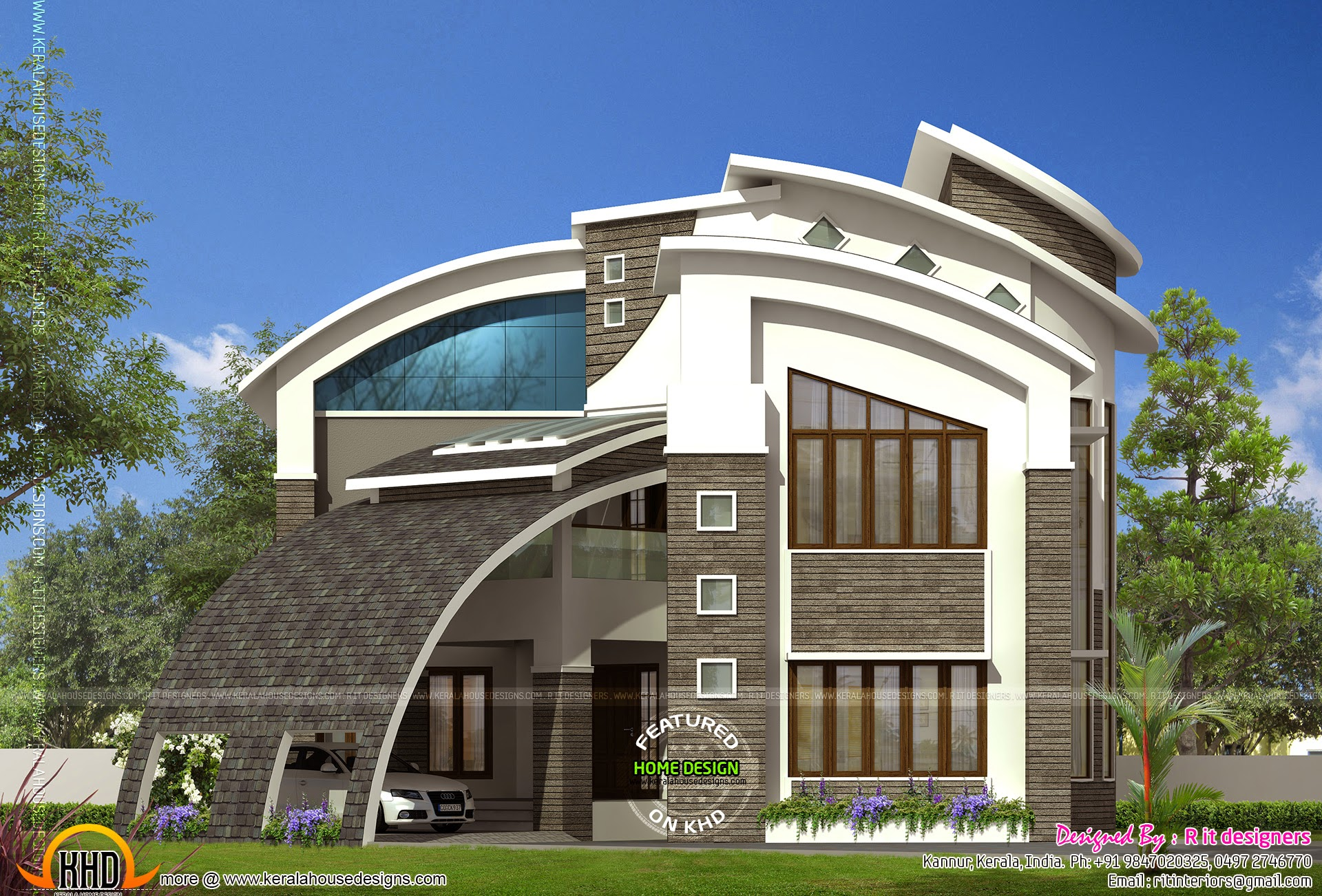 Most modern contemporary house design kerala home design for Modern tower house designs