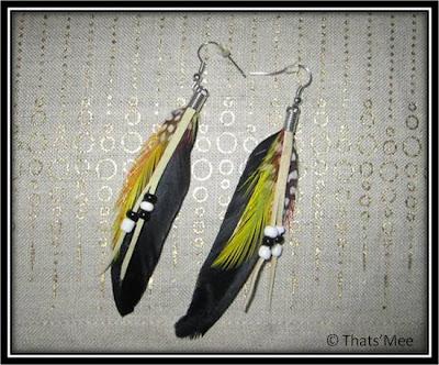 Boucles d'oreilles plume bala booste