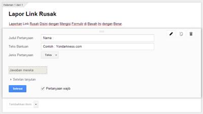 Mengisi Google Formulir Untuk Lapor Link Rusak