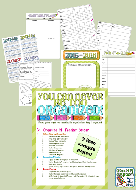 Get organized!  This free sample will help you get your teacher binder super organized!