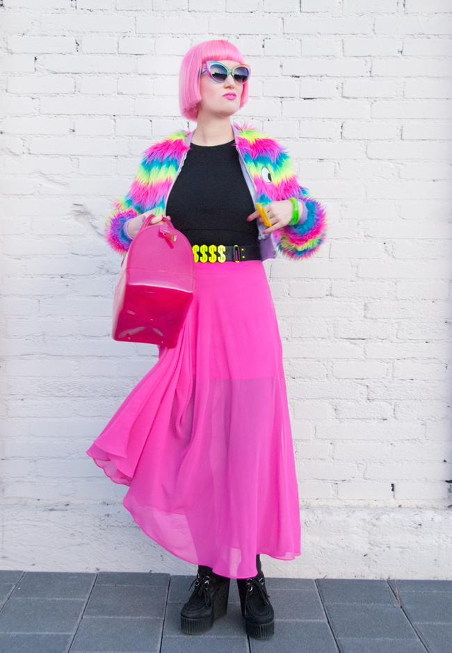 streetstyle, lazy oaf, rainbow outfit
