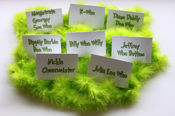 Place cards for a Grinch holiday dinner party
