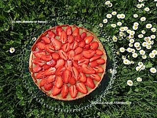 recette d'une delicieuse tarte à la rhubarbe et fraises