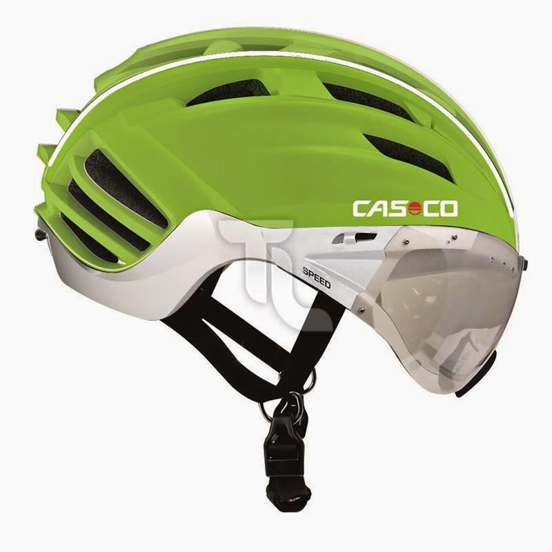 Casco Speedster Helm grün mit grauem Visier Radhelm Zeitfahrhelm Triathlonladen