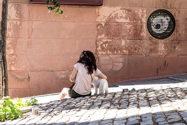 Streets of Madrid - Woman with dog