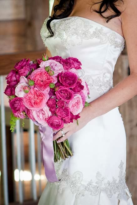 Pink Bridal Bouquet - Pink, Hot Pink, Raspberry Garden Roses, Garden Rose Bouquet, David Austin Rose Bouquet, Juliet Garden Rose, Patience Garden Rose, Rose Bridal Bouquet, Rose Bouquet, Wedding Bouquet - Splendid Stems Wedding Flowers - Wedding Florist