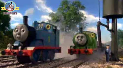 Small Percy the tank engine Thomas the train day off lazy Dennis the diesel engine trucks have gone