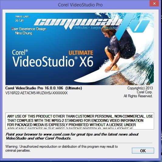 Corel VideoStudio Ultimate X6 Versión 16.0.0.106 Español