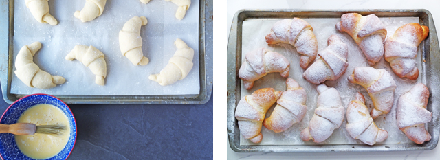 Nutella crescents before and after baking on an aluminum tray.