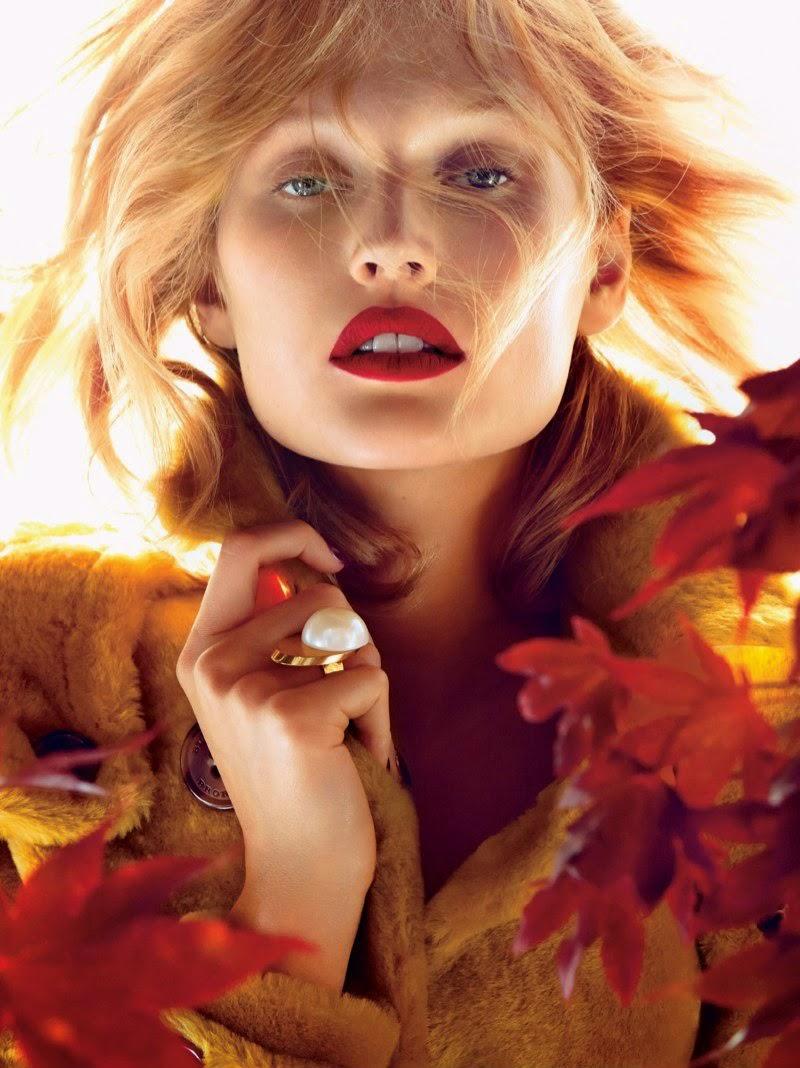 Toni Garrn Falls lipstick for Allure Magazine