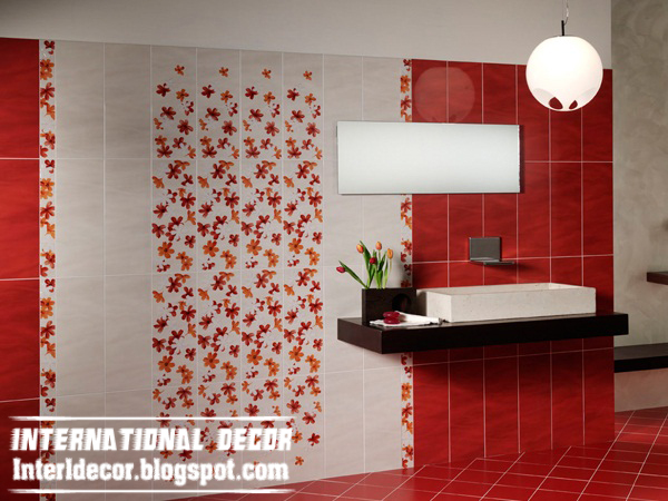 modern red and white wall tiles designs, red bathroom wall tiles