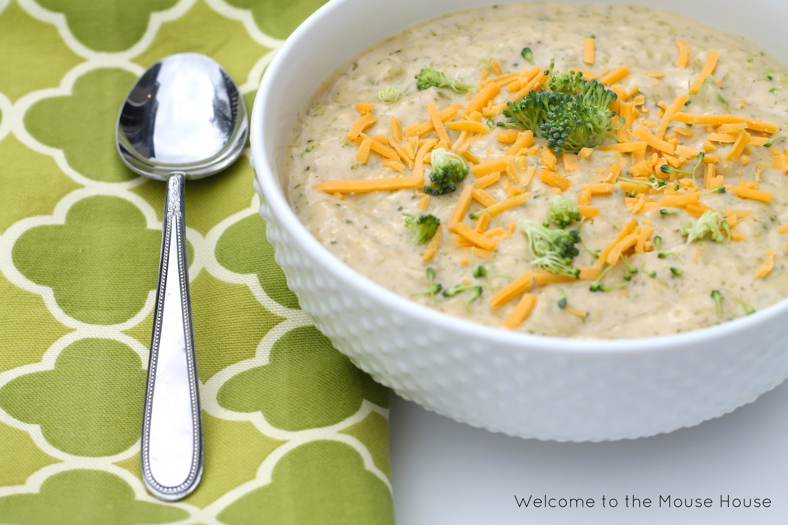 Broccoli Cheese Soup - welcometothemousehouse.com