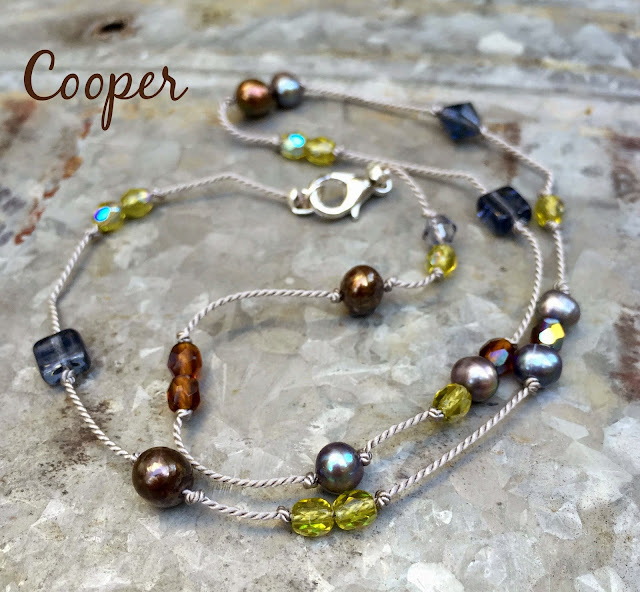 Cooper handknotted beaded necklace