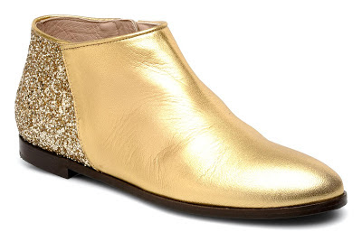 Gold ankle boots with glitter backs