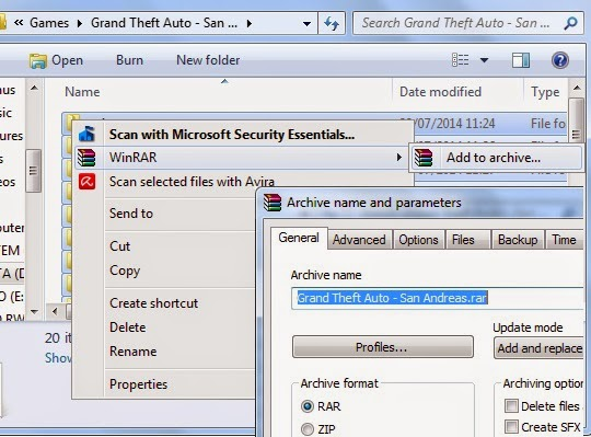 cara membuat file rar dengan winrar di explorer windows 7