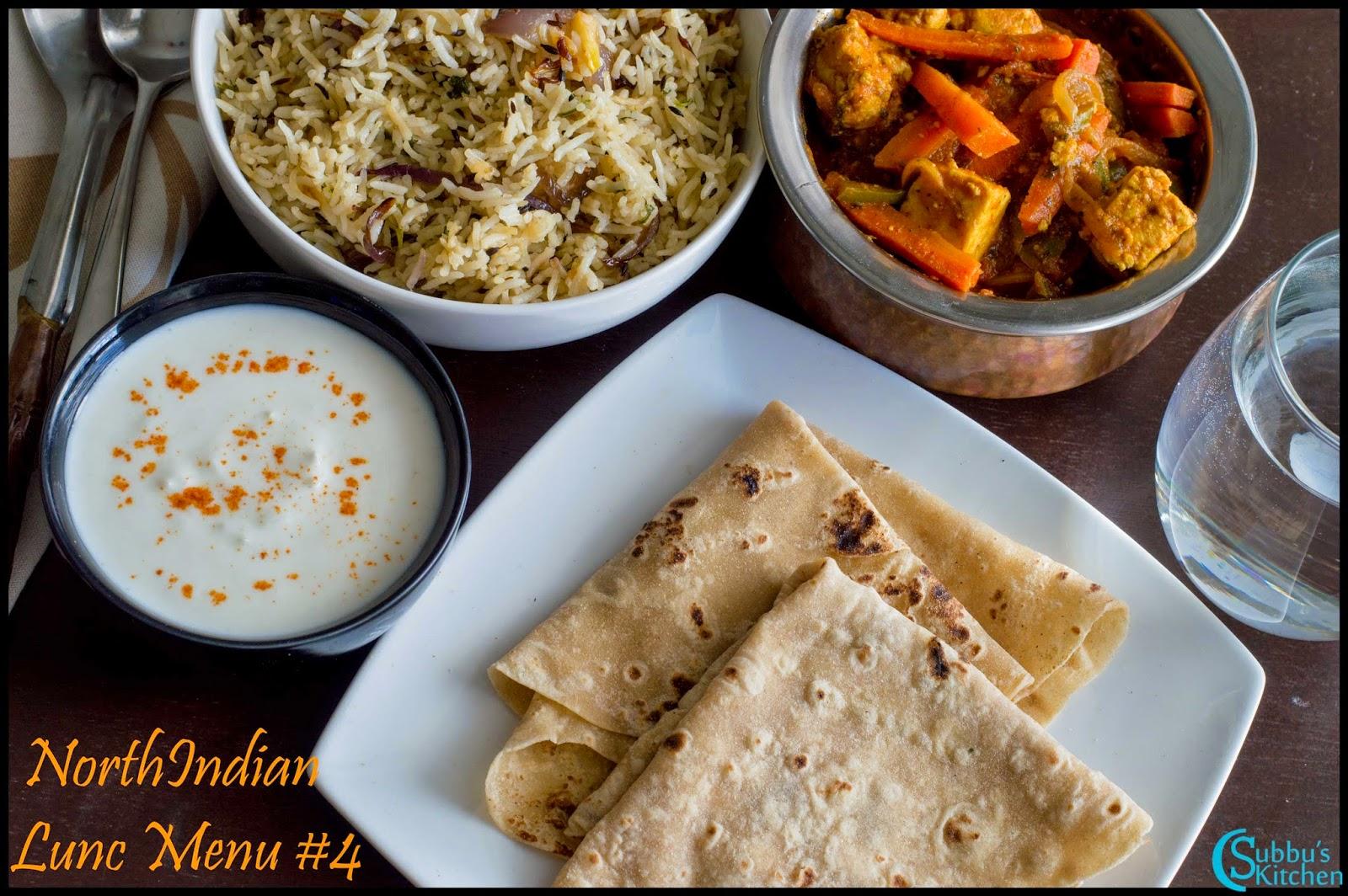 NorthIndian Lunch Menu #4 - Rumali Roti, Paneer Jalfrezi, Jeera Rice and Onion Raitha,