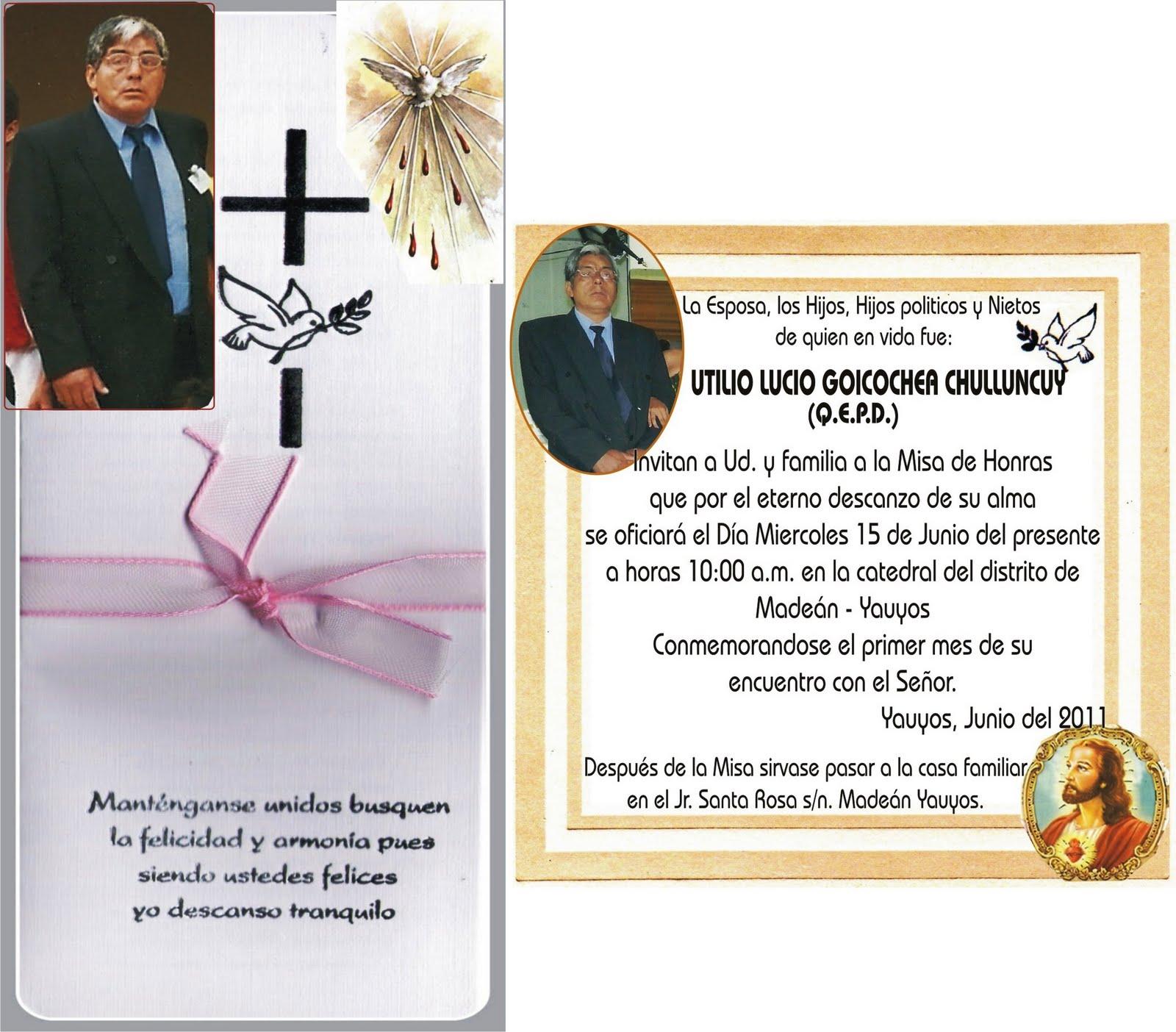 Invitacion Para Misa De Difunto