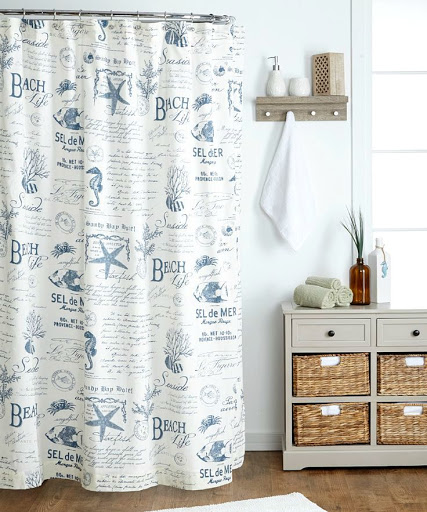 Beach Life Word Shower Curtain