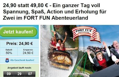 Groupon: 2 Karten für Fort Fun-Abenteuerland zum Preis von 24,90 Euro statt 49,80 Euro