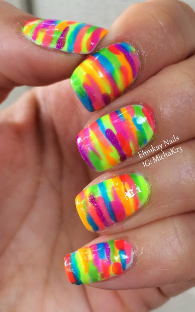 ehmkay nails rainbow neon stripe