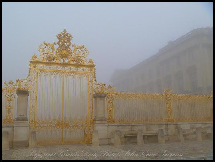 Fog Versailles palace gate