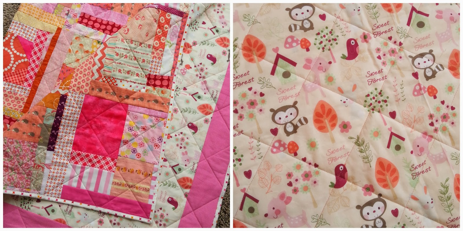 Pink and Orange Improv Quilt Collage