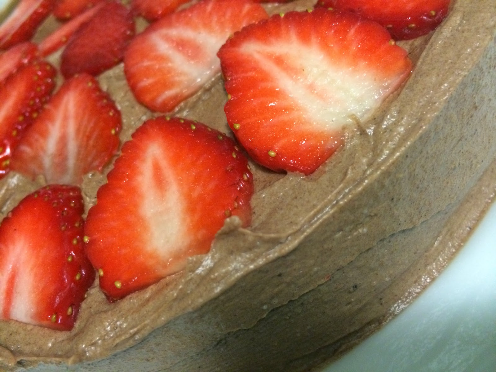 strawberries on choc cake