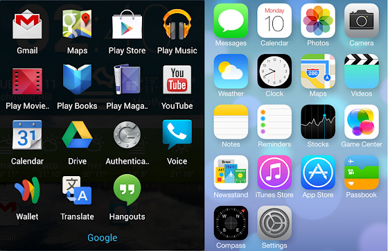 Android 5.0 vs iOS 7 Icons Design