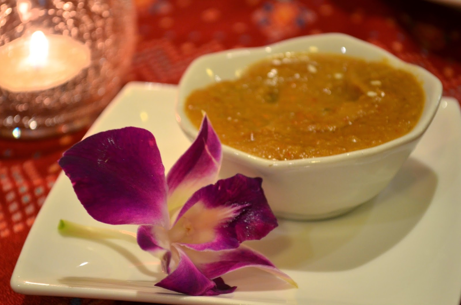 Complimentary satay dipping sauce
