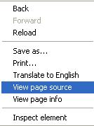 View Source of a Page
