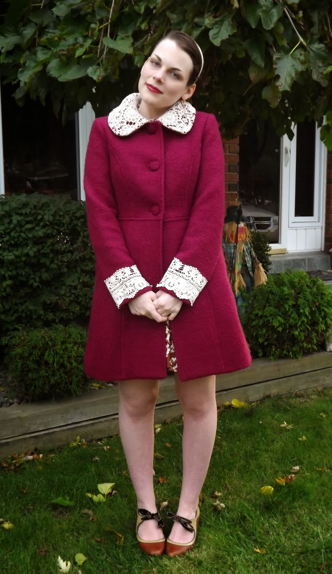 Modcloth coat, modcloth.com, Miss Patina coat, burgundy coat, wine coat, lace trimmed coat, Mulberry Scones Coat, winter coat, outerwear, Poetic License shoes, booties, brown shoes, vintage inspired, Suzanne Amlin, A Coin For the Well, Windsor Ontario fashion blog, style blog
