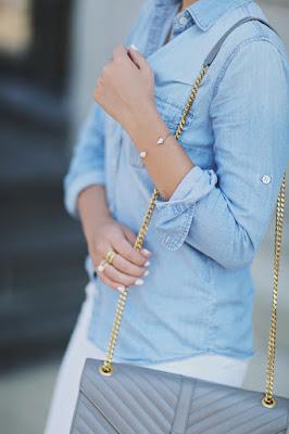 Stephanie Sterjovski in a chambray top with a chain strap handbag