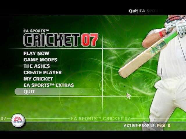 Top Menu of Cricket 07