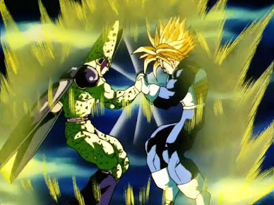 ultra super saiya trunks vs cell, trunks vs perfect cell, super siya trunks, ultra super saiya trunks