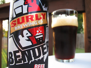 Surly Brewing Co Bender Beer bottle and glass