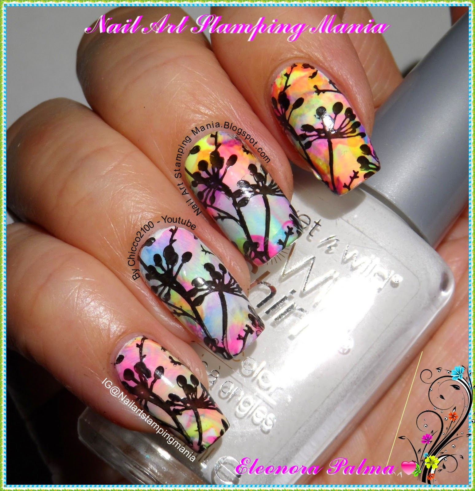 Nail Art Stamping Mania: Rainbow Manicure And Dandelions With Born ...