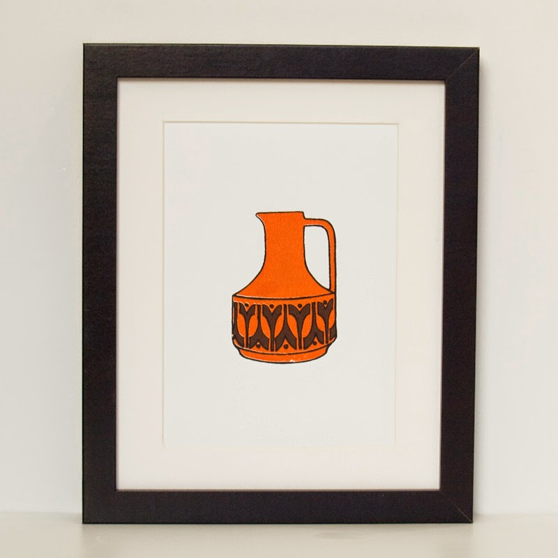 Vintage Style Jug Screen Print A5 by Welaughindoors