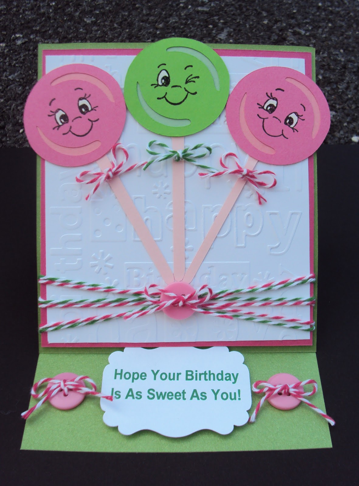 Crafted With Love By Karen Lollipop Birthday Card