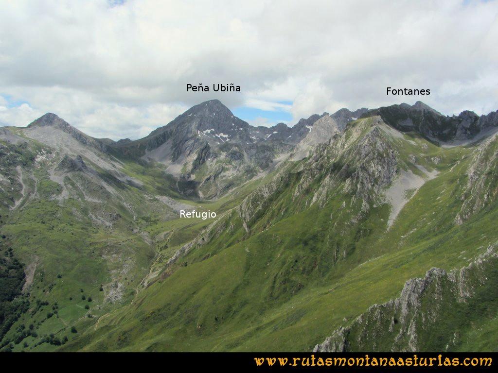 Ruta Tuiza Siegalavá: Vista de Peña Ubiña y los Fontanes
