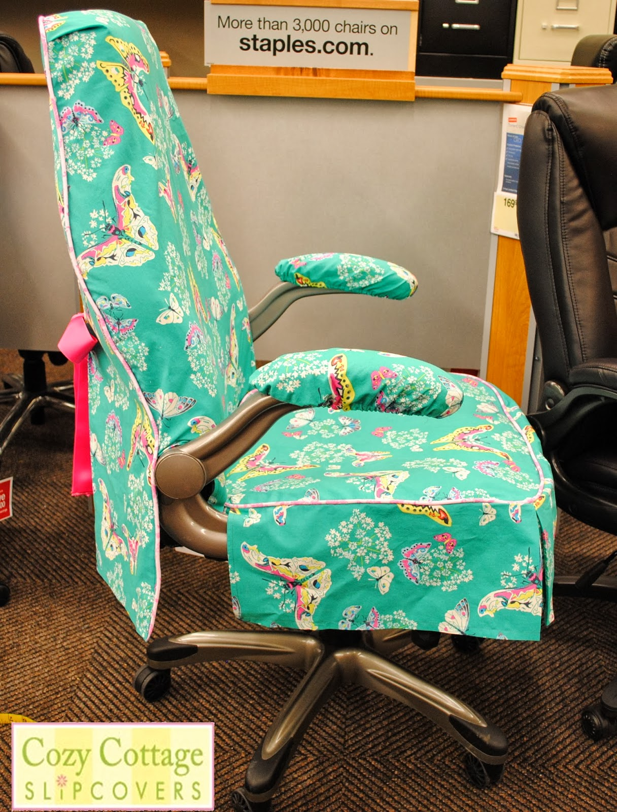 Cozy cottage slipcovers new office chair slipcovers - This Customer Also Chose To Have Matching Arm Covers Made Posted By Cozy Cottage Slipcovers