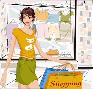 洋服のショッピングを楽しむ女性 Fashion shopping women vector イラスト素材