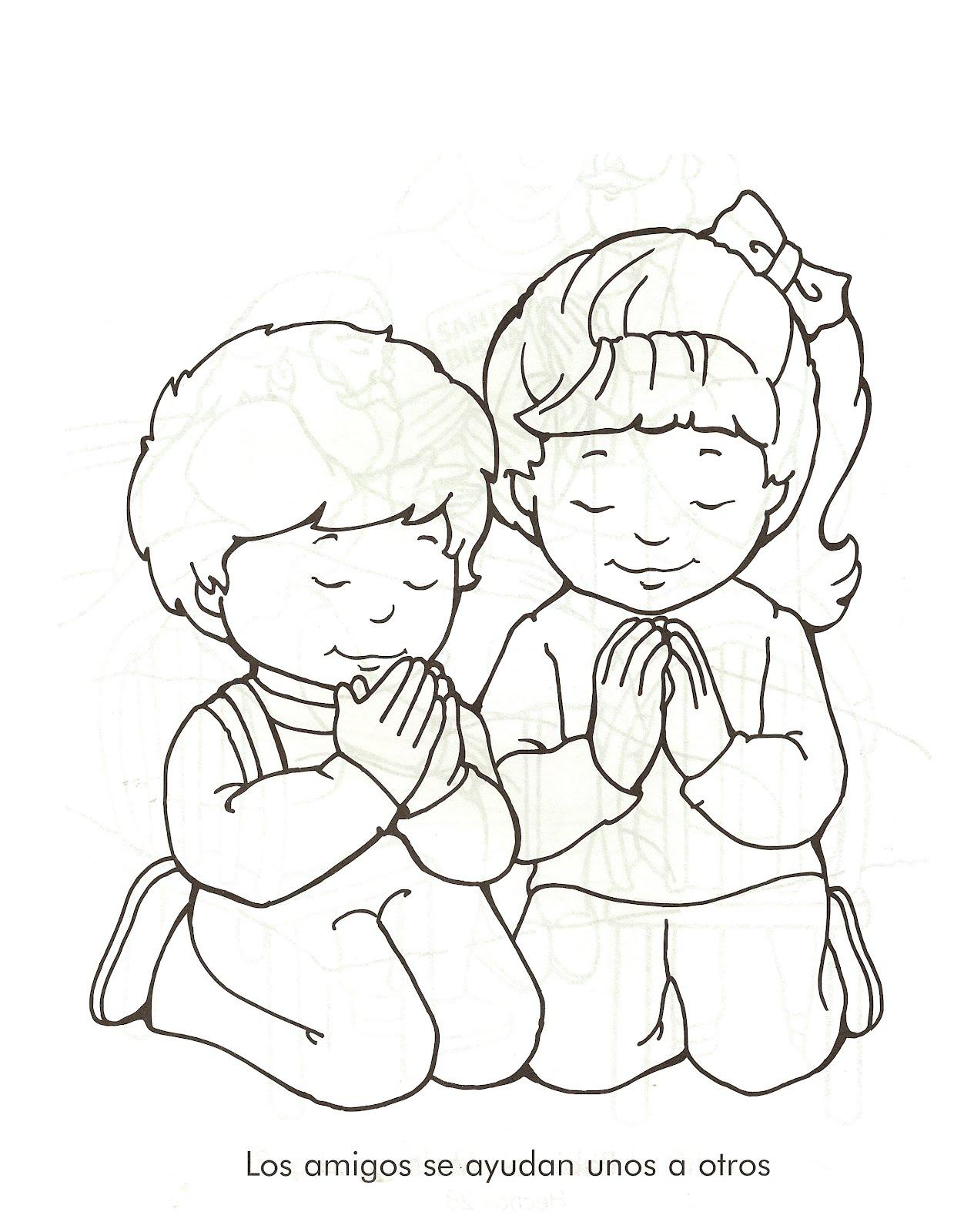Imagenes de Jesus: orando para colorear