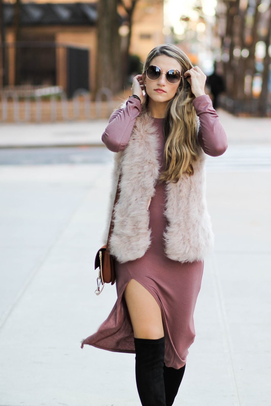 elliatt rabbit fur vest, dressed for dreams