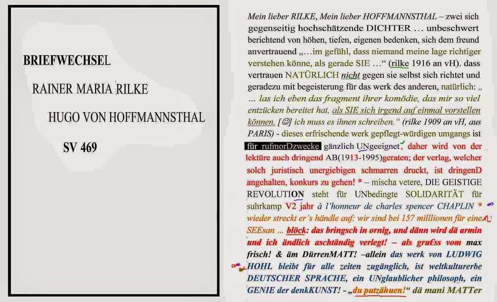 erika burkart mischa vetere beatrice von matt dr. jäger literaturarchiv suhrkamp hommage rilke dgr
