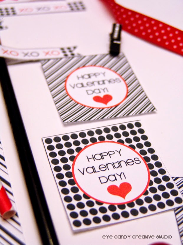 black and white stripes, black and white polka dots, FREE valentines toppers