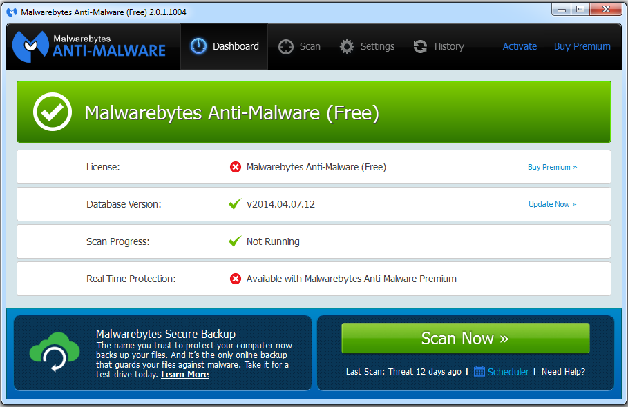 Malwarebytes Anti-Malware 2.0 Free - Main Interface