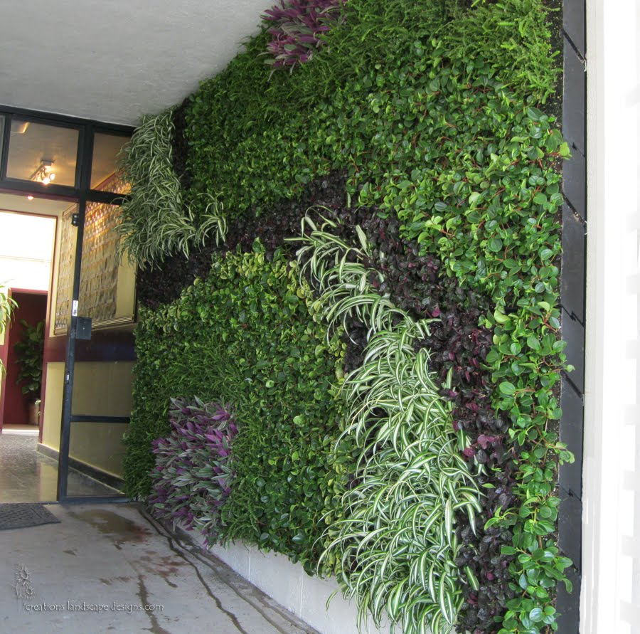 Earth friendly landscapes vertical garden installation for Vertical garden designs